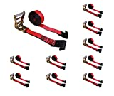 """Mega Cargo Control 2"""" x 30' Heavy Duty Ratchet Tie-Down Wheel & Dolly Flat Hook Winch Straps (Red, 10 - Pack)"""
