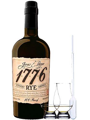 1776 Straight Rye Whiskey 0,7 Liter + 2 Glencairn Gläser + Einwegpipette 1 Stück