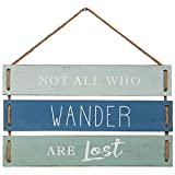 """Not All Who Wander Are Lost Quote Wall Decor, Decorative Wood Plank Hanging Sign 17"""" x 9.75"""" by Barnyard Designs"""