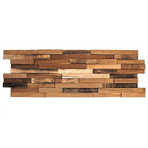Parement mural en bois teck recyclé vieilli - 5 pcs