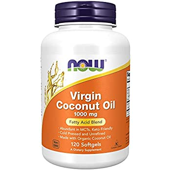 NOW Supplements Virgin Coconut Oil 1000 mg Cold Pressed and Unrefined 120 Softgels