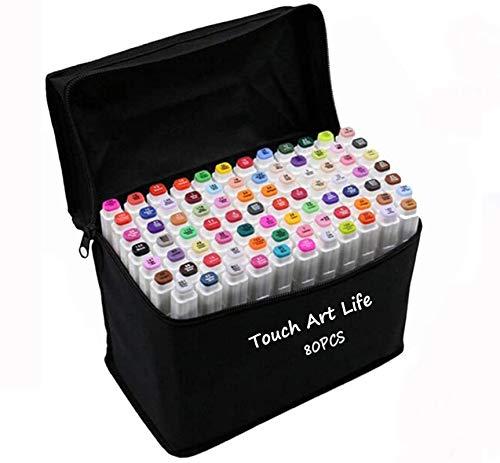 Mydee Nuevo 80 Varios Colores Arte Dibujo Marker, Marcador punta fina de gráfico Doble-punta Rotuladores a Base de Alcohol Lápiz de Tinta con Bolso Negro del Almacenaje (Blanco)