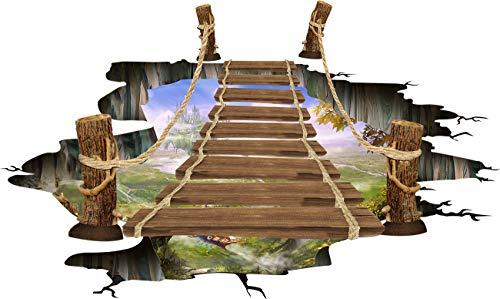 HALLOBO® Boden Aufkleber 3D Bodenaufkleber Zugbrücke Wandtattoo Wandaufkleber Decal Wand Sticker Boden