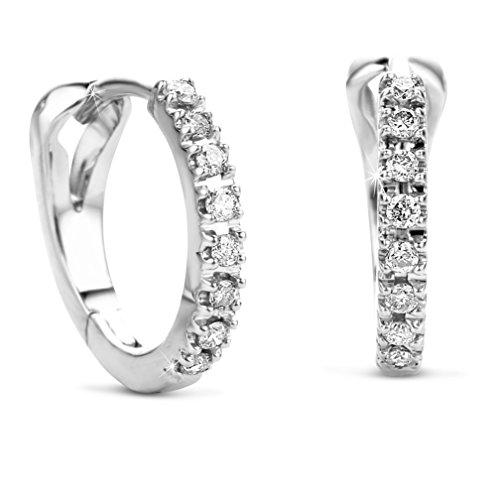 Orovi Damen Diamant Gold Creolen Ohrringe Weißgold 14 Karat (585) Ohr-Schmuck Brillianten 0.10ct