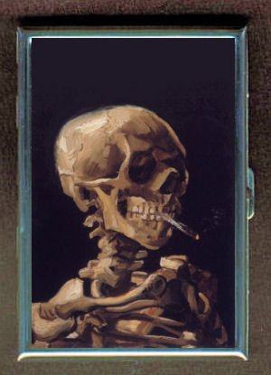 Vincent Van Gogh Skull Smoking Double-Sided Cigarette Case, ID Holder, Wallet with RFID Theft Protection