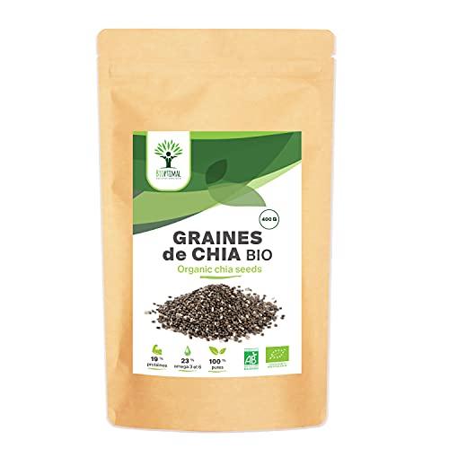 Graines de Chia Bio - Bioptimal - Superaliment - Omega 3 Protéines Calcium Fibres - Digestion Minceur Transit - 100% Graine de Chia Premium Crue - Conditionné en France - Certifié par Ecocert - 400 g