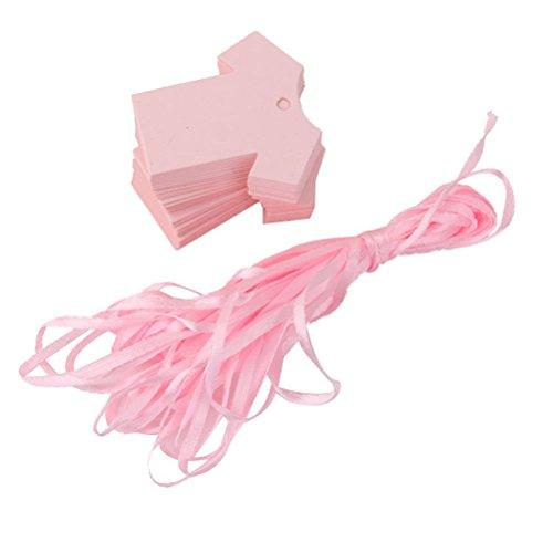 Rosenice 100PZ etichette regalo, baby shower party chiudipacco Cloth Shape (rosa)