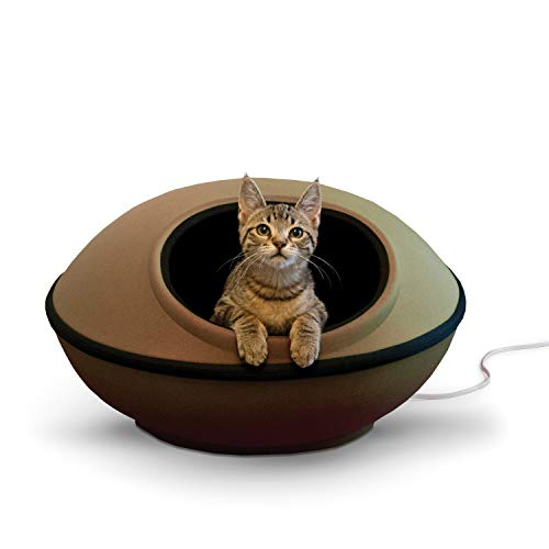 K&H PET PRODUCTS Thermo-Mod Dream Pod Heated Pet Bed 22 Inches Tan/Black