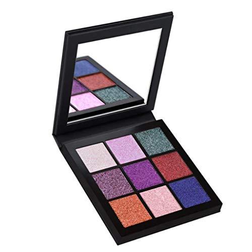 PinkLu Portable 9 Farben Lidschatten Highlight Lidschatten Highlighter Powder Makeup