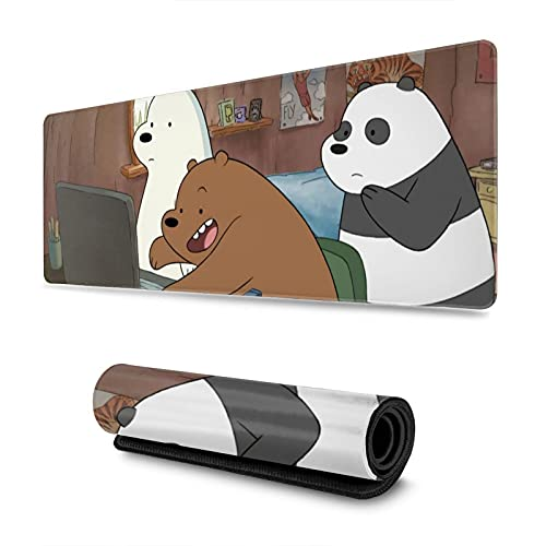 We Bare Bears Mouse Pad Gaming Mouse Mat Big Anti-Slip Mousepad 11.8x31.5 in
