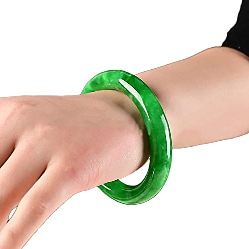 KNWSHT Pulsera Natural de Jade Verde Fengshui Retro Chino Energía Curativa Hecho a Mano Joyería para Mujeres Reiki Relajarse Brazalete