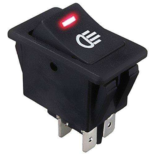 SODIAL 12V 35A Interruptor basculante LED luz antiniebla Barco Coche vehiculo Encendido-Apagado Tablero salpicadero Rojo