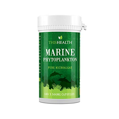 Marine Phytoplankton Capsules 180 x 500mg – Marine Omega 3 Supplement – Pure Microalgae Phytoplankton Supplement – Suitable Vegetarians