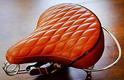 VELO SD Saddle - Brown, Classic Style Seat with Chrome Rail Handle bar for Beach Cruiser Bikes, Twin-Spring suspenion, Made in Taiwan.