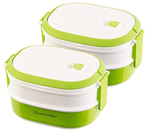 Rosenstein & Söhne Box: 2er-Set Lunchbox, 2 Etagen, Tragegriff, Clip-Deckel, BPA-frei, 700 ml (Behälter)