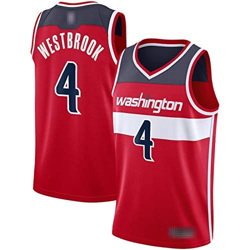 XGMJ Camiseta De Baloncesto Russell Westbrook para Hombre, 2021 New Season Washington Wizards 4# Jersey Sport Top Chaleco, Ropa Deportiva Unisex Sin Mangas Swingman Red-M
