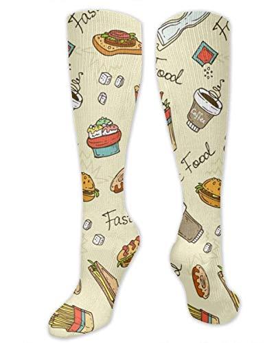NCH UWDF Fast Food Pommes Frites Hot Dog Burger Kaffee Wallpaper 3D ed Kompressionsstrümpfe Athletic Knee High Long Socken