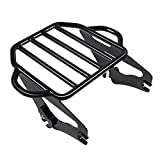 Benlari Gloss Black Detachable Luggage Rack 2-Up Mounting Rack Compatible for Harley Touring Road King Street Electra Glide 2009-2021