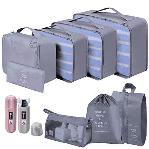 Packing Cubes, 10 Set Waterproof and Portable Travel Storage Bags, High Quality Durable Travel Essentials Bag Clothes Shoes Cosmetics Toiletries Cable Storage Bags(10 Piece, Gray)