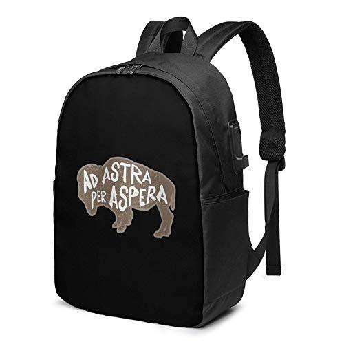 Lawenp Ad Astra Per Aspera Laptop-Rucksack mit USB-Ladeanschluss, Business-Tasche, Büchertasche | Passend für die meisten 17-Zoll-Laptops und -Tablets