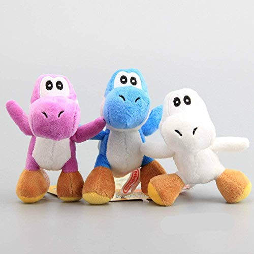 N  A 3pcs / Set 12cm Mario Series Yoshi Dragon Plush Doll Toy Mini Soft Stuffed Animals Llavero Regalo de cumpleaños de Navidad para niños 12cm 3pcs
