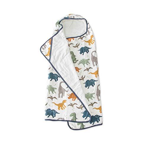 Little Unicorn | Cotton Hooded Towel Big Kid - Cape de bain coton enfant (Dino Friends)