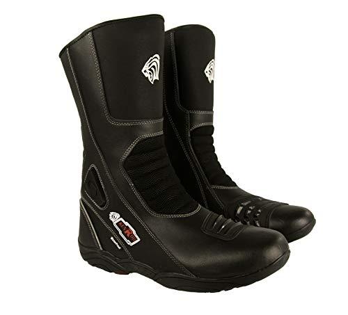 Zerimar Botas Piel Moto | Botas Moto | Botas Motocicleta de Cuero | Botas de Moto Proteccion (carbon-negro, 43)