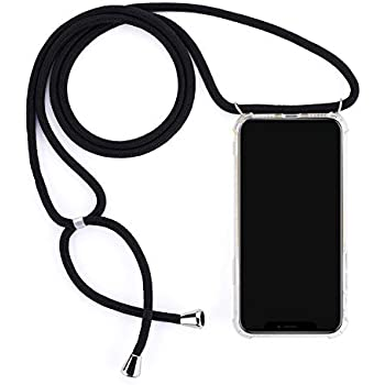 Crossbody Necklace Transparent Case for iPhone 11 Pro Max - Fashion Clear TPU Cell Phone Mobile Cover Holder with Cord Strap Neck Lanyard, Protective Shock Absorption Air Cushion Bumper