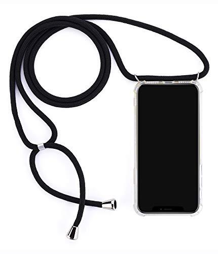 Mediatech Handykette kompatibel mit iPhone X/XS - Handy-Kette Handyhülle mit Band Handy Hülle mit Kordel zum Umhängen Halsband Necklace Handyanhänger Band Case Cover (Transparent 5.8 Bumper)