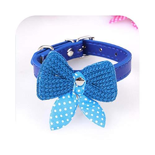 Collar grande para perro, collar con lazo para perro, bonito gato y perro para mascotas de compañía, cachorros, pequeños perros, collar azul