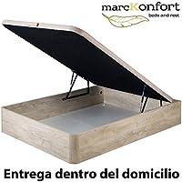 marckonfort Canapé abatible 90X190 de Gran Capacidad con Esquinas Redondeadas en Madera, Base tapizada 3D Transpirable Color Roble