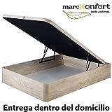 marckonfort Canapé abatible 160X200 de Gran Capacidad con Esquinas Redondeadas en Madera, Base tapizada 3D Transpirable Color Roble