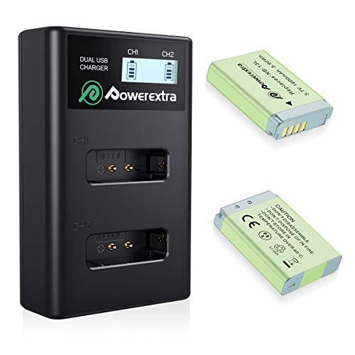 Powerextra 2 Batterie di Ricambio per Canon NB-13L da 1600mAh e 1x Doppio caricatore con Display LCD per Canon PowerShot G5 X G7 X G7 X Mark II G9 X G9 X Mark II SX620 HS SX720 HS SX730 HS