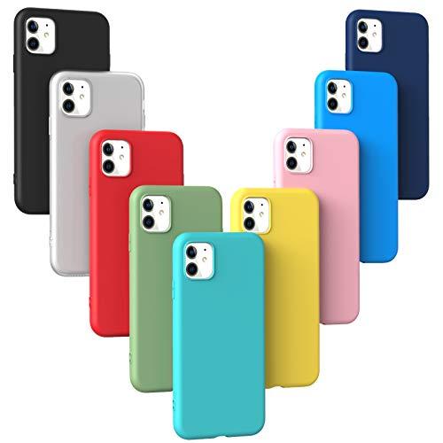 [Set di 9] Cover Compatibile con iPhone 11 / XIR 2019 (6.1), Custodia Morbida in Silicone TPU Sottile e leggero e Antiurto Antigraffio Anti-goccia Protettiva Flessibile Gomma Case - 9 Colori