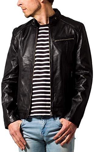 (リューグーレザーズ) Liugoo Leathers ライダースジャケット シングルライダースジャケット Mサイズ ブラック SRS07