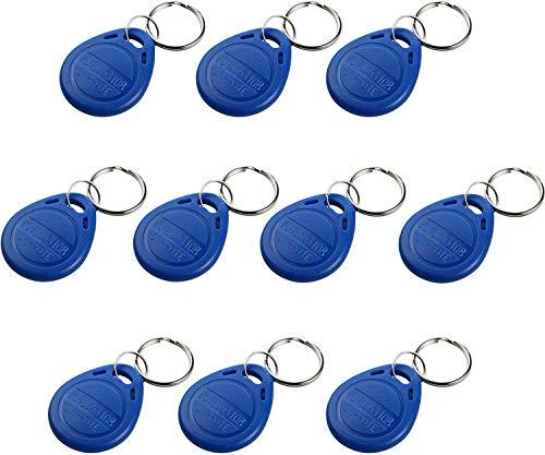 UHPPOTE Proximity EM4100 125KHz RFID EM-ID Karte Tag Token Schlüsselanhänger Keyfob Nur lesen Farbe Blau (Packung mit 10)