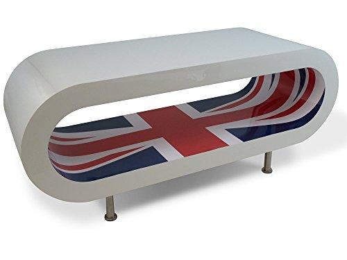 Zespoke Design Retro Bianco Lucido con Presa del Sindacato Interno caffè Cerchio Tavolo/Porta TV UK Fatto Varie Dimensioni