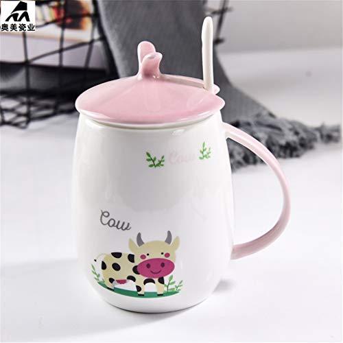 Tasse de tasse à thé en porcelaine café elegant_RG, os exquis en porcelaine tasses à la main tasses à thé avec couvercle cuillère isolation bande dessinée tasse en céramique cadeau mignon fille