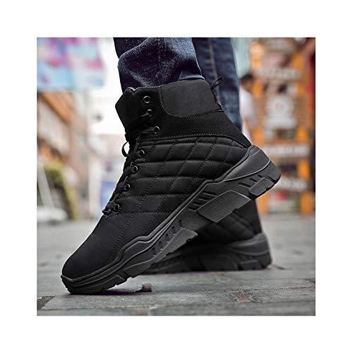 HaoLin Ejército Fan Montañismo Botas de Nieve Zapatillas de Deporte Calientes Zapatos de Trabajo de Felpa Calzado,Black-41