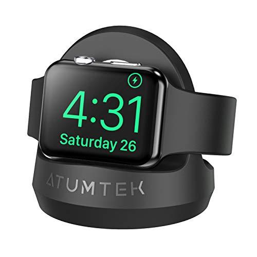 ATUMTEK Lade Halterung für Apple Watch, mit Einem Nachttisch Modus, Tisch Halterung für Apple Watch Serie 5/4/3/2/1, 44/42/40/38mm [Eingebauter Kabelkanal]