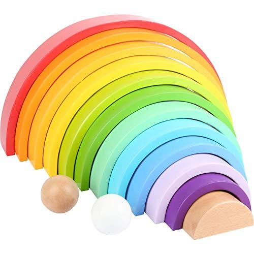 Small Foot- Blocs en Bois XL, Arc-en-Ciel de 12 pièces avec 2 Boules pour l'école Maternelle, pour Le développement Jouets, 11412, Multicolore