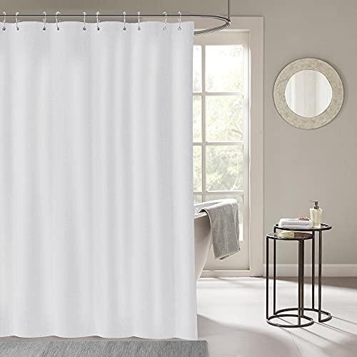 i@HOME Duschvorhang 300*200 cm Anti-Schimmel Wasserabweisend Waschbar Anti-Bakteriell Weiß Duschvorhäng aus Polyester Badvorhang mit 12 Duschvorhängeringen