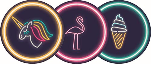 Procos 90578 Partyteller Neon Flamingo, Einhorn, Unicorn, Eis aus Pappe, 8 Stück, schwarz, Gold