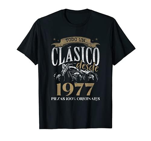 Nacido En 1977 - 44 años Cumpleaños Moto Biker Hombre Motero Camiseta