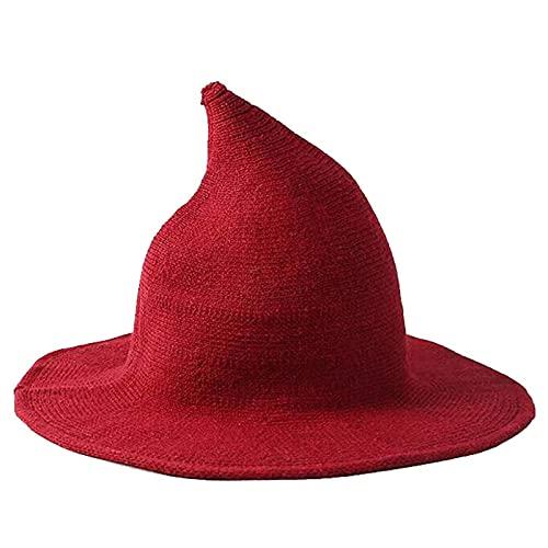 BIUBIULOVE Sombrero de Brujas Moderno, Gorro de Punto de Aguja de ala Ancha para Mujer, Gorro de Mago de Lana de Punto para Mujer, Disfraz de Halloween para Cosplay (Rojo)