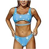 POachers Mujer Bikinis Estampado de Estrella de Hálter Bañadores de Tanga Traje de Baño Push Up con Relleno Ropa de Baño Natacion Playa Verano Fiesta Piscina Top y Shorts 2 Pieza