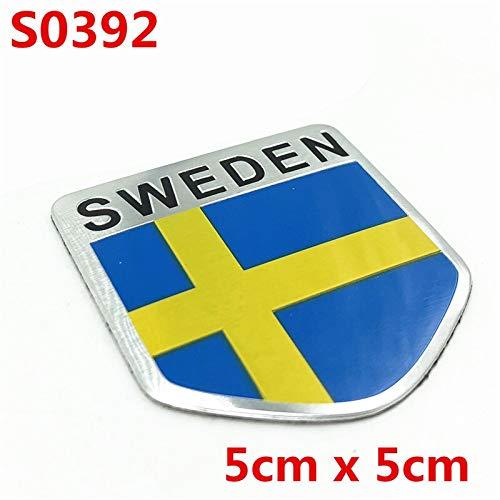 BYTT Aluminium 3D Sweden Flag Aufkleber Aufkleber-Abzeichen-Emblem von Motorrad-Auto-Abziehbild for Selbstkörper Fenster Volvo BMW Ford Jeep Kia Mazda VW (Colore : S0392)