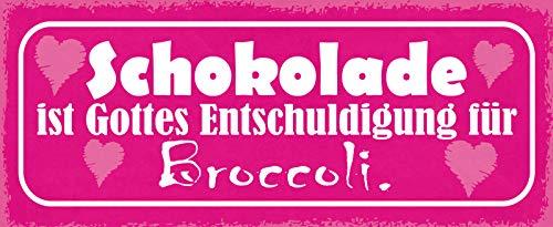 Deko7 blaszana tabliczka 27 x 10 cm powiedzenie: czekolada jest Bogiem przepraszamy za brokuł