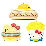 Sanrio Hello Kitty & Gudetama Slow Rising Junk Food Squishy Toy Keychain (Hamburger & Fries & Hot Dog, 3 Piece Set) Birthday Gifts, Party Favors, Stress Ball, Prop Decor for Kids, Boys, Girls, Adults