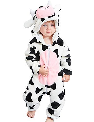 Happy Cherry Animal Pyjama Bébé Fille Garçons Combinaison Automne Hiver Costume pour séance Photo 18-24 Mois blanc motif vache